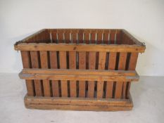 A large slatted crate with drop down side, 146 cm x 106 cm x 93 cm