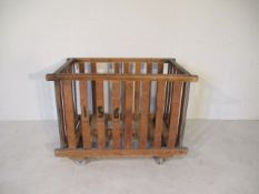 An industrial slatted bobbin trolley, 108 cm x 70 cm