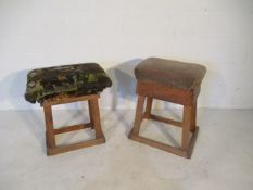 Two crude handmade industrial stools