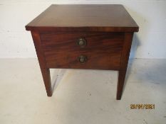 A mahogany converted commode with lift up lid.