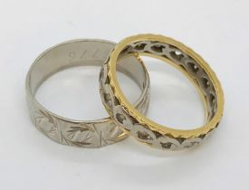 An 18ct white gold wedding band along with an 18ct gold eternity ring, total weight 9.4g