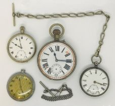A Goliath pocket watch along with a silver pocket watch and two others