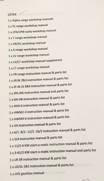 A large collection of various Lister manuals and engineering literature both vintage and more recent - Image 2 of 7