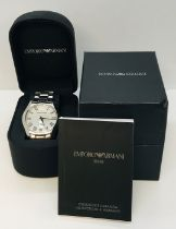 An Emporio Armani gentleman's stainless steel wristwatch with subsidiary second dial, boxed