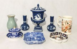 A collection of assorted china including Spode Copeland Blue Italian, Royal Copenhagen crackle-