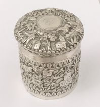 An Indian silver pot and cover decorated with hunting scenes etc.