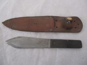 An Enfield throwing knife in leather scabbard