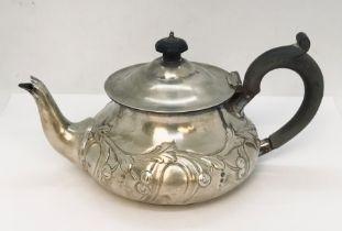 """A hallmarked silver """"bachelors"""" tea pot, London 1905, total weight 292g"""