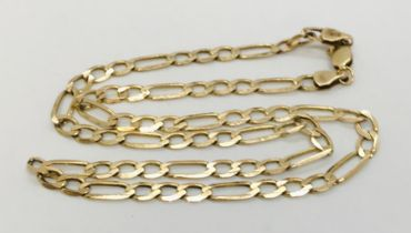 A 16 inch 9 ct gold Figaro chain, weight 7.8g