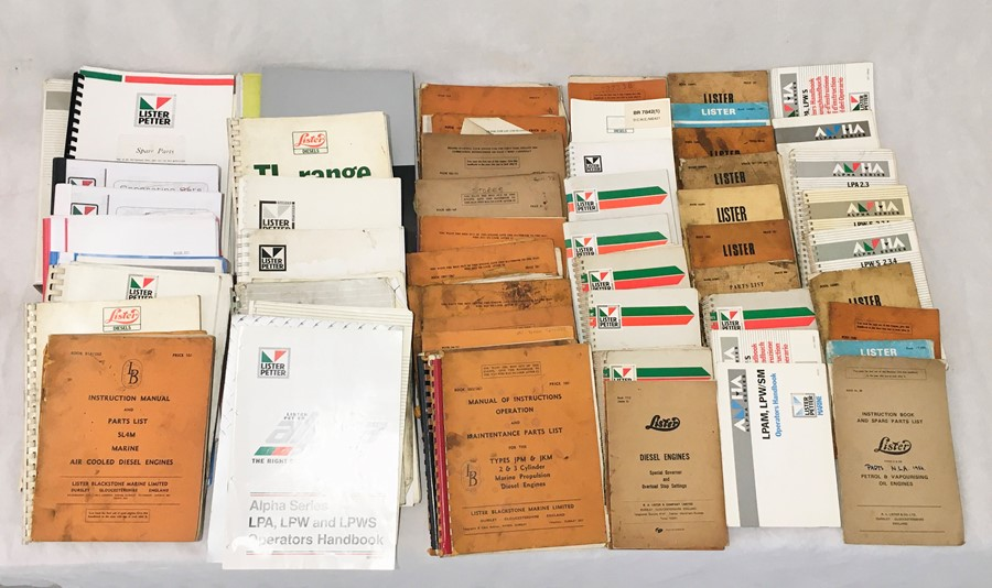 A large collection of various Lister manuals and engineering literature both vintage and more recent