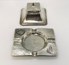 A hallmarked silver inkwell ( hinge A/F) along with a continental silver ashtray