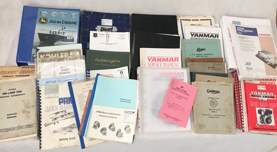 A collection of various vintage manuals and other engineering literature including John Deere,