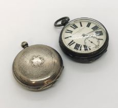 A hallmarked silver pocket watch, the movement signed H Wolfe, Manchester, the white enamelled