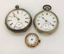 A hallmarked 9ct gold watch ( A/F) along with a hallmarked silver pocket watch and a silver plated