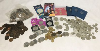 A collection of various coinage including some silver, florins, uncirculated £2, large collection of