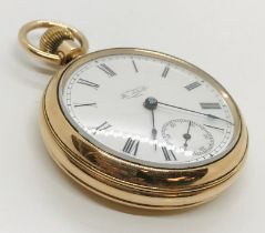 A gold plated pocket watch the white enamel dial with subsidiary dial, The Sales Co., USA