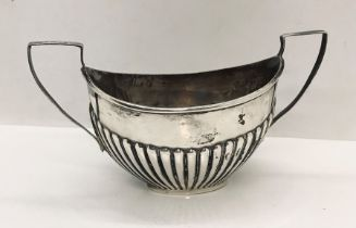 A hallmarked silver double handled sugar bowl, weight 98.1g