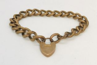 A 9ct gold bracelet with padlock, 11.1g