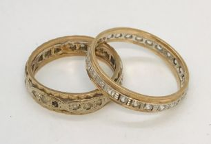 Two 9ct gold eternity rings, total weight 7g