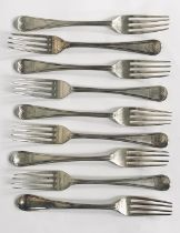 A matched set of 9 hallmarked silver forks, total weight 298.7g (9.6 troy ounces), earliest London