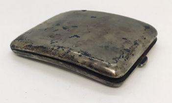 A hallmarked silver cigarette case, weight 114g