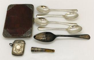 A hallmarked silver vesta case, crocodile skin card case with silver corners, tea spoons etc.