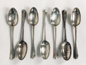A matched set of hallmarked silver spoons ( 5 x Edinburgh 1793, Patrick Robertson, 2 x Edinburgh