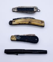 Three vintage penknives along with a Wyvern no.60 fountain pen with 14ct gold nib
