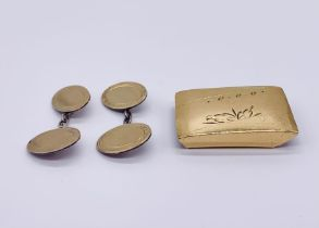 A Chinese 22 ct gold buckle ( weight 11.5g) along with a pair of 9ct gold on silver cufflinks