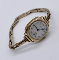 A Marvin 9ct gold ladies watch with 9ct strap- total weight including movement 16.3g