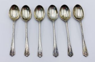 A set of six hallmarked silver coffee spoons