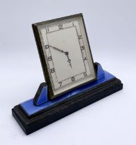 A hallmarked silver and guilloche enamel Art Deco Smiths 8 day clock