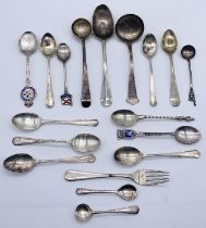 A collection of hallmarked silver spoons along with others- total weight of hallmarked silver 183.