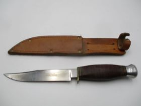 """A William Rodgers """"I Cut My Way"""" vintage knife in leather sheath"""
