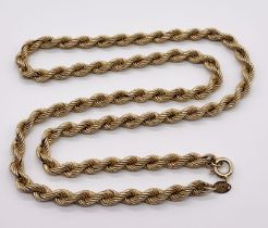 A 9ct gold rope chain (replacement clasp) total weight 10g
