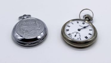 A silver plated Symons & Sons, Launceston pocket watch with subsidiary second dial along with a