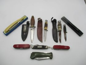 """A collection of various knives and two cut throat razors including """"Big Swede"""" by Eka, J Howill,"""