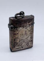 A hallmarked silver vesta case