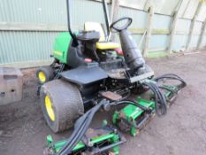 JOHN DEERE 3235C 5 GANG RIDE ON CYLINDER MOWER, YEAR 2007. WHEN TESTED WAS SEEN TO RUN, DRIVE, MOWER