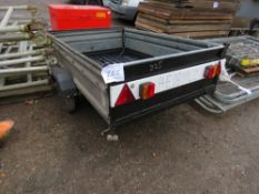 SMALL SIZED SINGLE AXLED TRAILER WITH STABILISER LEGS, 6FT X 4FT APPROX.