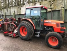 KUBOTA M5700 4WD TRACTOR UTILITY SPEC, PLUS FITTED WITH A TRIMAX STEALTH ROLLER MOWER