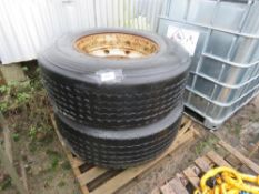 PAIR OF SUPER SINGLE WHEELS AND TYRES.