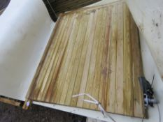 2 X CURVED TOP WOODEN DRIVEWAY GATES, 3.3M OPENING X 1.95 MAX HEIGHT APPROX.