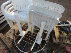 6 X PLASTIC HEAVY DUTY PLASTIC TABLES AND CHAIRS.