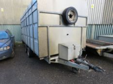 IFOR WILLIAMS LM146G TRAILER WITH CATTLE BOX FITTED. REAR RAMP. INTERNAL ELECTRICS. 14FT LENGTH BODY