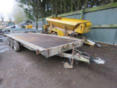 """BRIAN JAMES TRIPLE AXLED PLANT TRAILER 18FT BED APPROX, 6 FT 6"""" WIDE APPROX."""