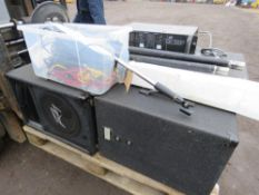 PUBLIC ADDRESS SYSTEM WITH 2 X MICROPHONES, CABLE, 4 X SPEAKERS AND A MIXER DECK.