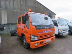 ISUZU DOUBLE CAB EASYSHIFT GEARBOX 7500KG RATED CHASSIS CAB LORRY. REG KE57 CZH. 12FT LENGTH OF CHAS