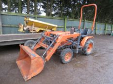 KUBOTA B6200 4 WHEEL DRIVE COMPACT TRACTOR WITH LOADER. WHEN TESTED WAS SEEN TO DRIVE, STEER BRAKE A