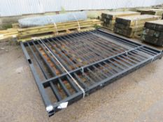 PAIR OF BLACK BARBICAN TYPE STEEL SECURITY YARD GATES. 2.46M HEIGHT X 5.4M TOTAL SPAN APPROX. (PALLE